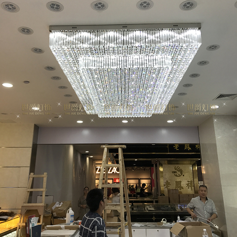 Large engineering hall rectangular crystal lamp hotel lobby engineering lighting villa sales department ceiling lamp led light hot sales modern crystal ceiling light lamp fashion ceiling lighting decoration lamp holiday lamp for lobby