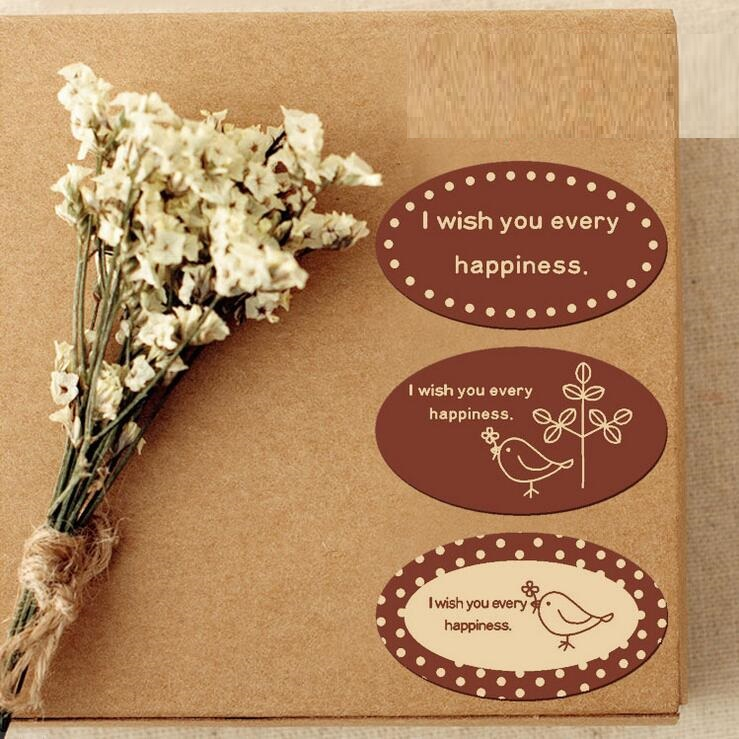 90PCS/Lot Classical Brown Wish series Ellipse seal Sticker for Handmade Products kawaii Gift sealing sticker Students DIY label90PCS/Lot Classical Brown Wish series Ellipse seal Sticker for Handmade Products kawaii Gift sealing sticker Students DIY label