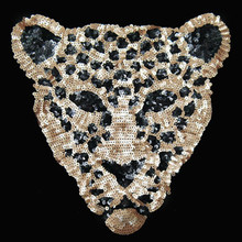Embroidered iron on patches for clothes leopard sequins deal with it clothing DIY Motif Applique T-shirt accessories