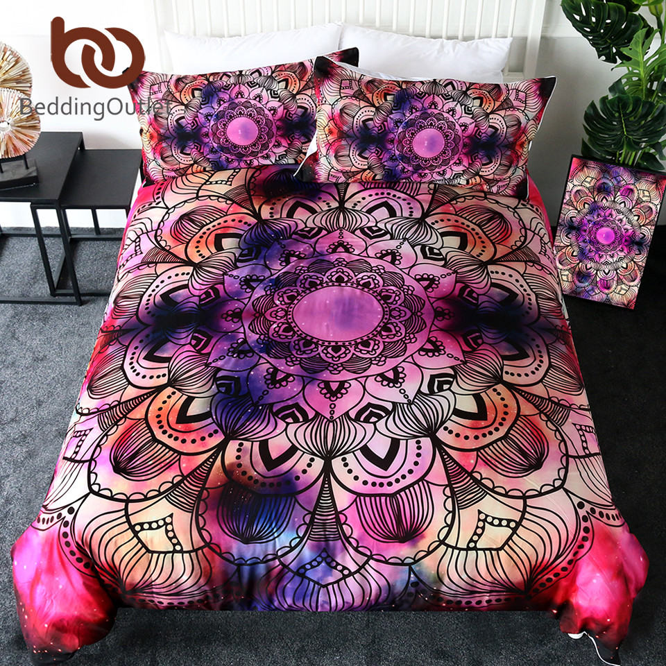 BeddingOutlet Mandala Bedding Set Watercolor Comforter Cover Purple Red Pink Bed Set Bohemian Floral Bed Linen Queen 3 Piece