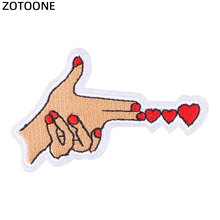 ZOTOONE Hearts Iron on Patches Stripes Clothes Diy Sew Airsoft Patch Badges Stickers for Clothing Embroidered Applications G