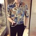 2017 Мужчин Случайные Рубашки Мужские Цветочные Мужской Китайский Стиль Печати Camisas Estampadas Masculina Клуб Костюмы Slim Fit Мода