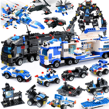 8 in 1/6 In 1 City Police Building Blocks Robot Helicopter Model Station DIY Bricks Kids Toys