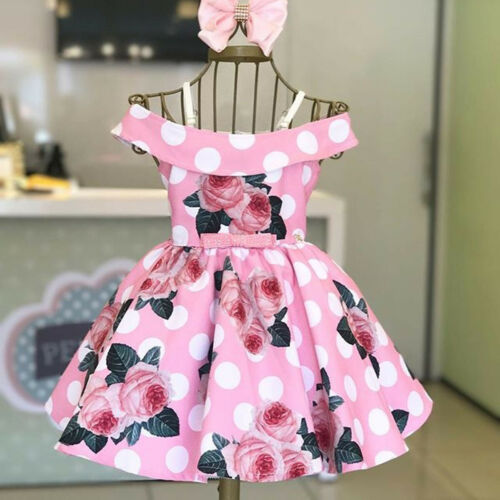 2019 Summer Baby Girl Clothes Newborn Toddler Flower Print Sleeveless Off Shoulder Cute Fashion Dress Outfits