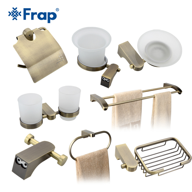 Frap Bath Accessories Paper Holder Cup Holder Toilet Brush Soap Dishes Towel Rack Hook Space Aluminium 8 Pieces F14T8