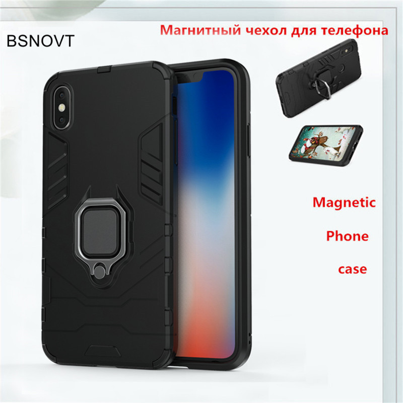 For iPhone XS Max Cover Magnetic Finger Ring Bracket Case For iPhone XS Max Back Cover Hard Bumper Armor Phone Case XS Max