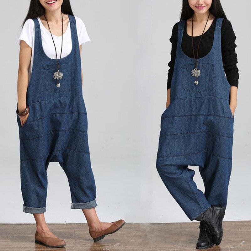 large size loose denim jumpsuit casual bodysuit women harem jumpsuits combinaison femme wide leg. Black Bedroom Furniture Sets. Home Design Ideas