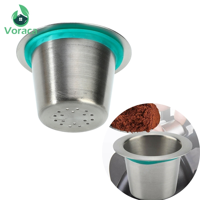 Stainless Steel Silver Refillable Reusable Coffee Capsule Pod For Nespresso Machine Italian Coffee Maker Cup Filter Coffeeware