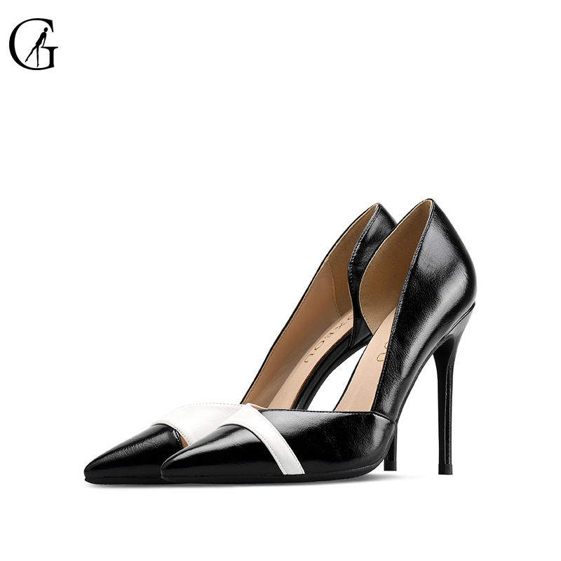 GOXEOU Thin Heel Multicolor Shoes Wedding Office Pointed-Toe Slip-On Plus-Size Handmade