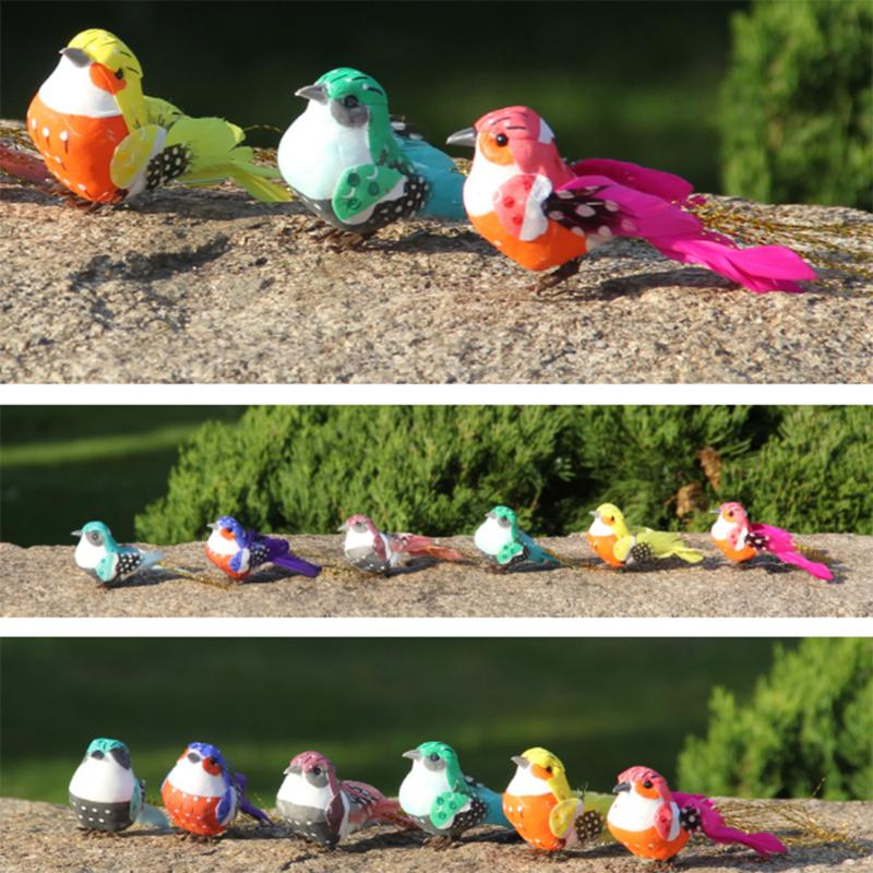 12pcs Cute Artificial Bird Foam Feather Colorful Mini Tit Craft Birds Emulation Decoration Bird Model DIY Artificial Sparrow