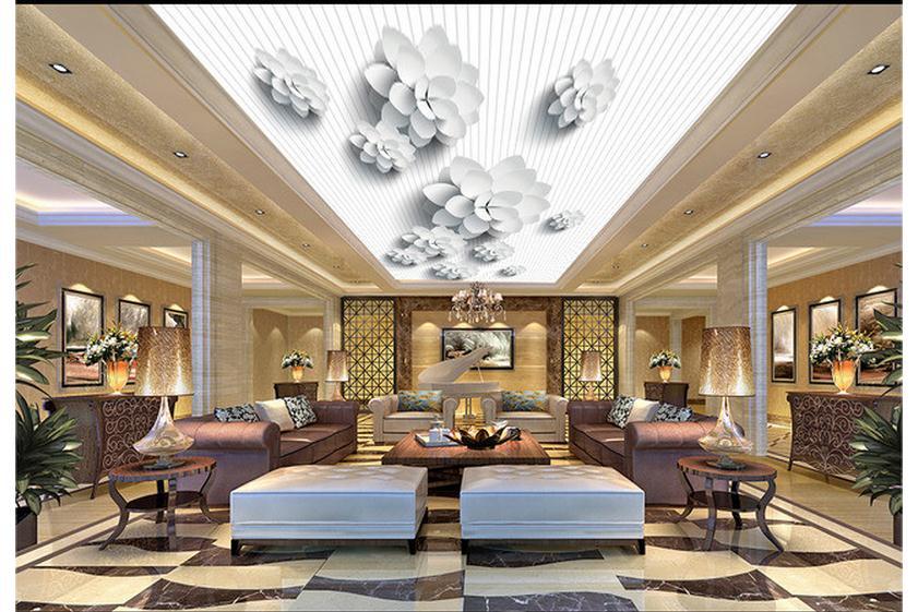 Massgeschneiderte 3d Wallpaper Decke Tapete Wandmalereien Weissen Streifen Zenit Wandbild Vector 3D Schnheit Wand Dekoration