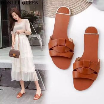 2019 New Summer Slippers Shoes Women Brand Slides Plus Size 35-41 Beach Flip Flops Round Toe Narrow Band Sandal Zapatos De Mujer
