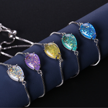 NJ Shiny Colorful Water Drop Stone Charm Bracelets for Women Silver Adjustable Zircon Chain Link White Blue Color
