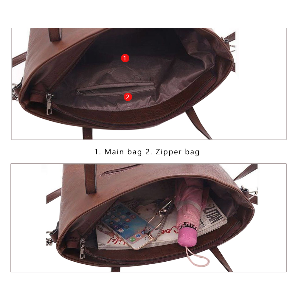 Women Shoulder Two-piece Leather Handbag  2