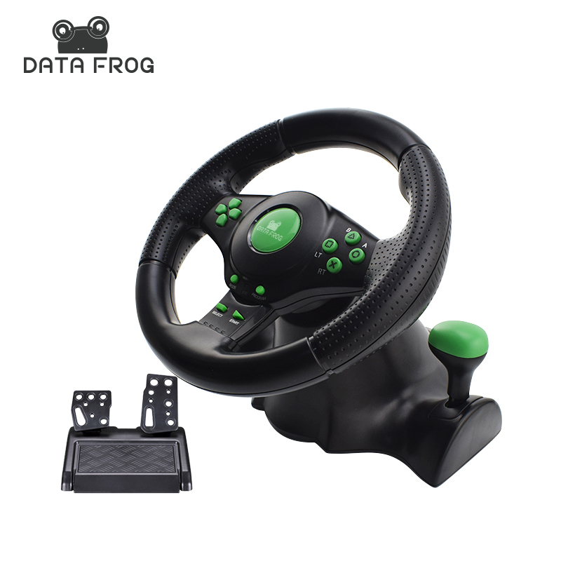 Data Frog 4 In 1 Wired USB Game Steering Wheels For Android/PC/XBOX 360/PS3 Vibration Motor Racing Games Wheel Remote Controller 5 in 1 wired karaoke microphone set for ps3 ps2 pc wii xbox 360 black 2 pcs