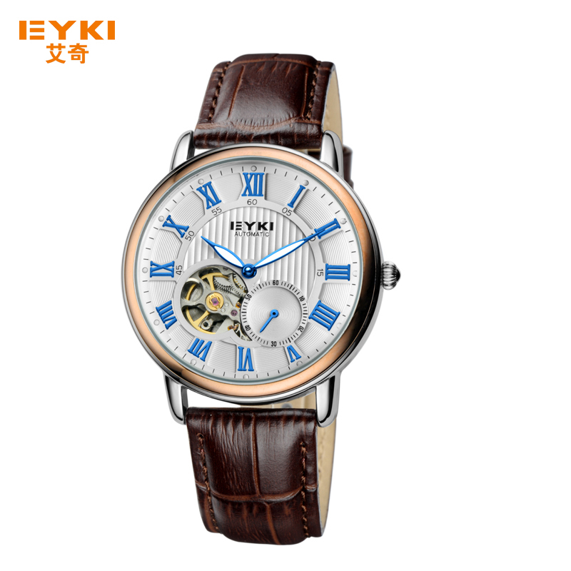 EKYI Fashion Men Hollow Automatic Mechanical Watch Luminous Pointer Vintage Roman Numeral Dial Male Watches Leather Strap Clock цена 2017