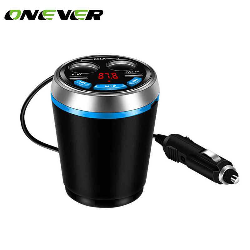Car Cup Holder Kit Bluetooth FM Transmitter Cigarette Lighter Socket USB Charger Adapter Support U Disk Reading Hands-free