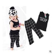"2016 new girls boys clothing sets for summer Baby Kids children Clothes Suit ""sup"" vest t-shirt+pants roupas infantil meninas"