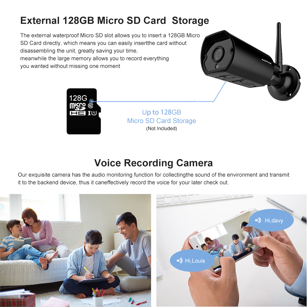 Anpviz WiFi Outdoor IP camera 1080P waterproof 2MP Wireless Home Security Camera Metal Two-Way Audio TF card record P2P bullet
