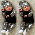 2017 Del verano Del Bebé Ropa de Niño de manga Larga camiseta + pants sombrero 3 unids casual traje ropa de recién nacido bebé ropa traje de bebé