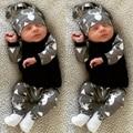 2017 verão Roupas de Bebê Menino camisa de manga Longa T + calça + chapéu 3 pcs terno ocasional roupas bebê recém-nascido roupas menina terno infantil