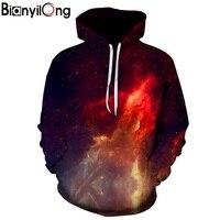 BIANYILONG Space Galaxy 3d Sweatshirts Men Women Hoodies With Hat Print Stars Nebula Autumn Winter Loose