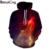 BIANYILONG Space Galaxy 3d Sweatshirts Men Women Hoodies With Hat Print Stars Nebula Autumn Winter Loose