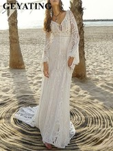 Laço do vintage manga longa sereia vestidos de casamento boho sexy com decote em v sem costas verão praia vestidos de noiva país cigano vestidos de noiva