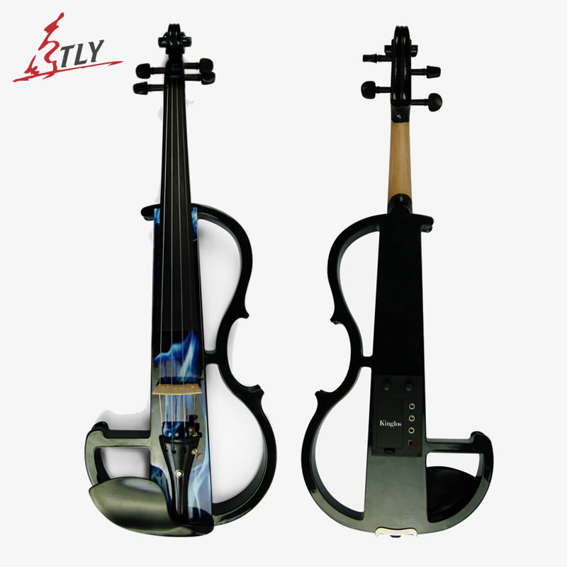 Kinglos Middle-B Electric Silent Art Violin 4/4 Blue Colored Solid Wood Ebony Fittings Violin w/ Case Bow (DSZB-0015) handmade new solid maple wood brown acoustic violin violino 4 4 electric violin case bow included
