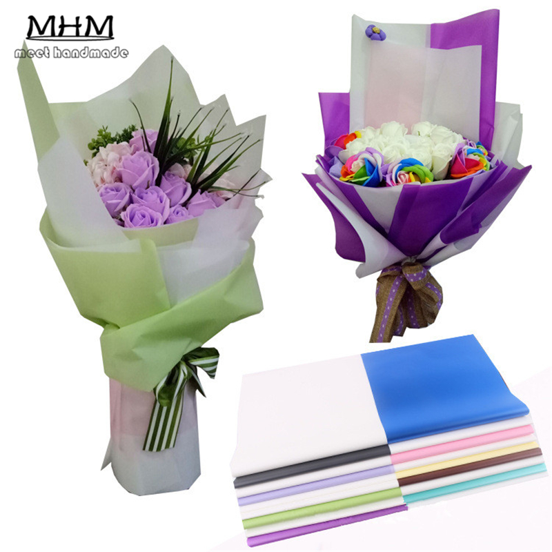 10pcs korean flowers two tone paper packaging gift wrapping neutral two tone paper packaging gift wrapping diy tissue paper wrapping floral wraps 6060cm mightylinksfo