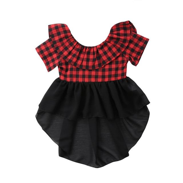 c266f4d4e Toddler Kids Children Baby Girls Blouse Short Sleeve Summer Red Plaid  Blouse Ruffle Round Neck Girl Tops Cute Backless