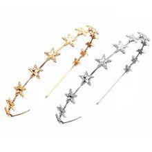 Korean Ladies Glitter Metallic Gold Silver Thin Headband Pentagram Star Charms Decor Hair Hoop Princess Birthday Party Headpiece