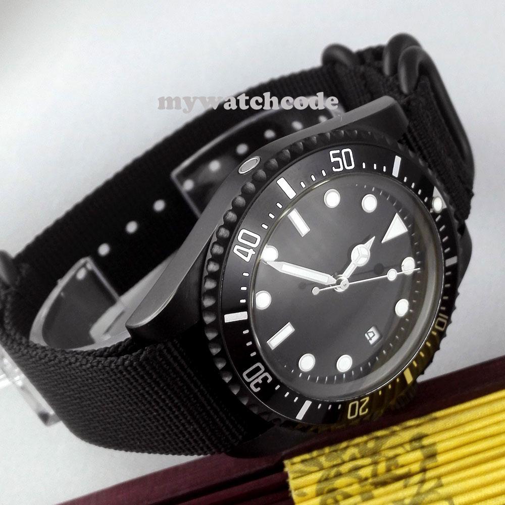 42mm czarna tarcza Parnis świecące znaki PVD automatyczny ruch mężczyzna zegarek P309 w Zegarki mechaniczne od Zegarki na  Grupa 3