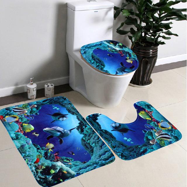 3pcs Toilet Seat Cover Set Shark Blue Rug Bath Mat Lid