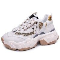 Chunky Sneakers Women Vulcanize Shoes Zip Golden Glitter Platform Sneakers Spring Casual Footwear Woman zapatos de mujer QDD 79