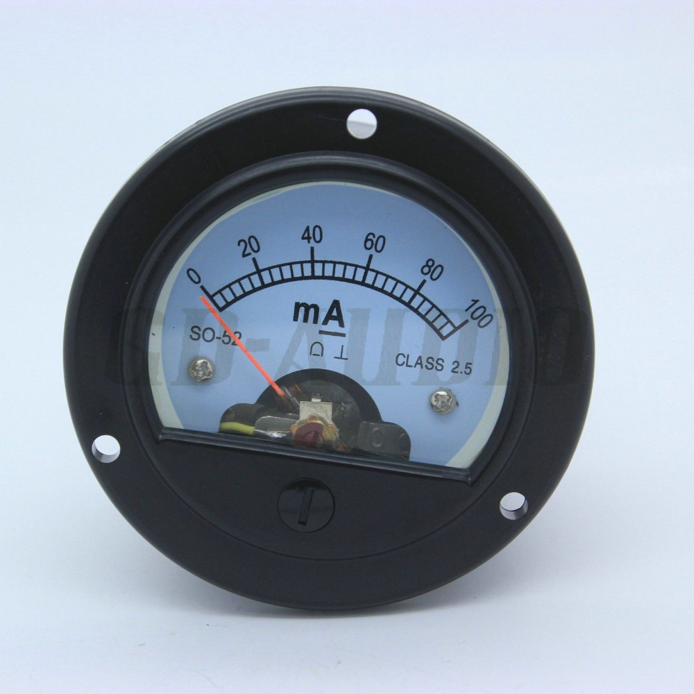 2 PCS 52mm DC100mA DC200mA Runde Moving Coil Panel Meter Für 300B KT88 2A3 <font><b>211</b></font> EL34 6550 Vintage Hifi audio Rohr Audio Verstärker image