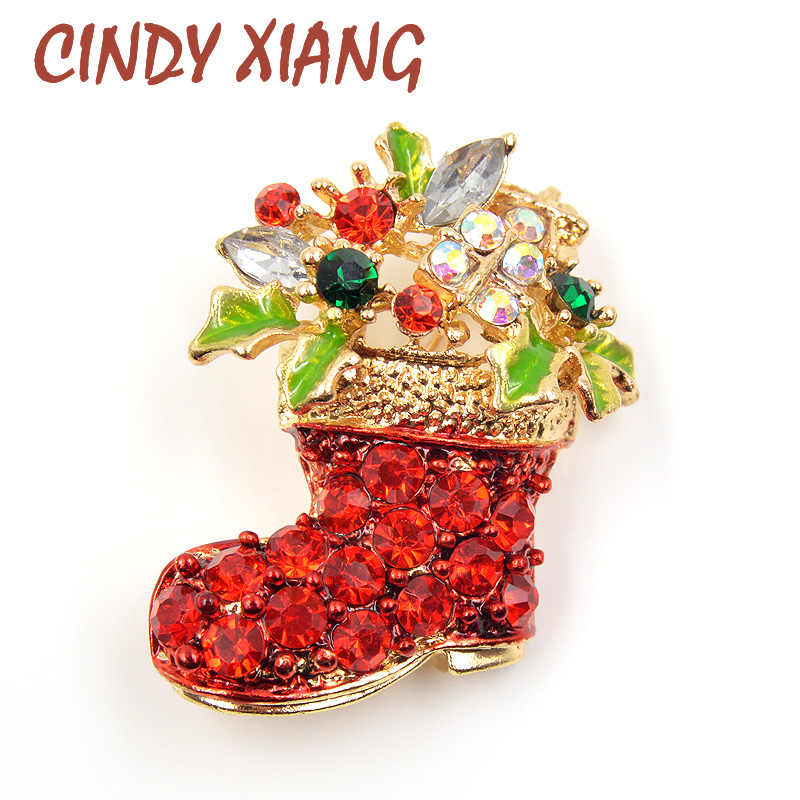 CINDY XIANG Rhinestone Boots Brooches Pins for Women Cute Red Color Christmas Shoes Brooch Coat Backpack Broches Fashion Jewelry