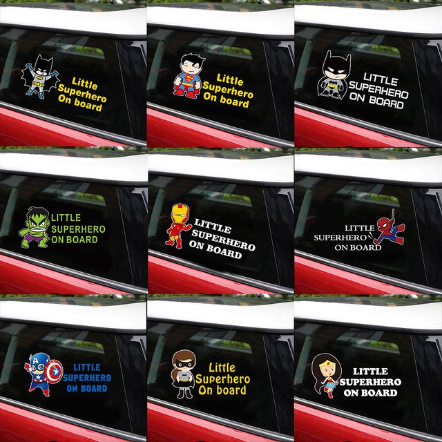 Reflective Superhero Baby On Board Stickers Car Stickers And Decals Car Styling Body Window Vinyl Stickers For Car Wall Stickers