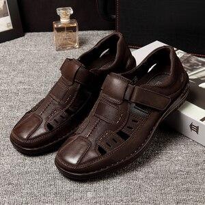 Image 2 - Jackmiller men sandals summer breathable comfortable super Light casual brown mark line sandal men shoes hook & loop slip on
