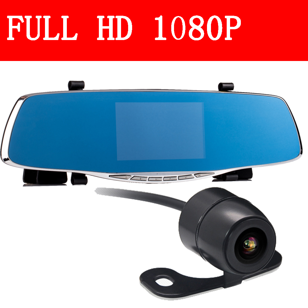 Best Car Rearview Mirror 4.3 TFT Dash Recorder auto dvrs Video Registrator Cam corder Dual Lens full hd 1080p Night Vision
