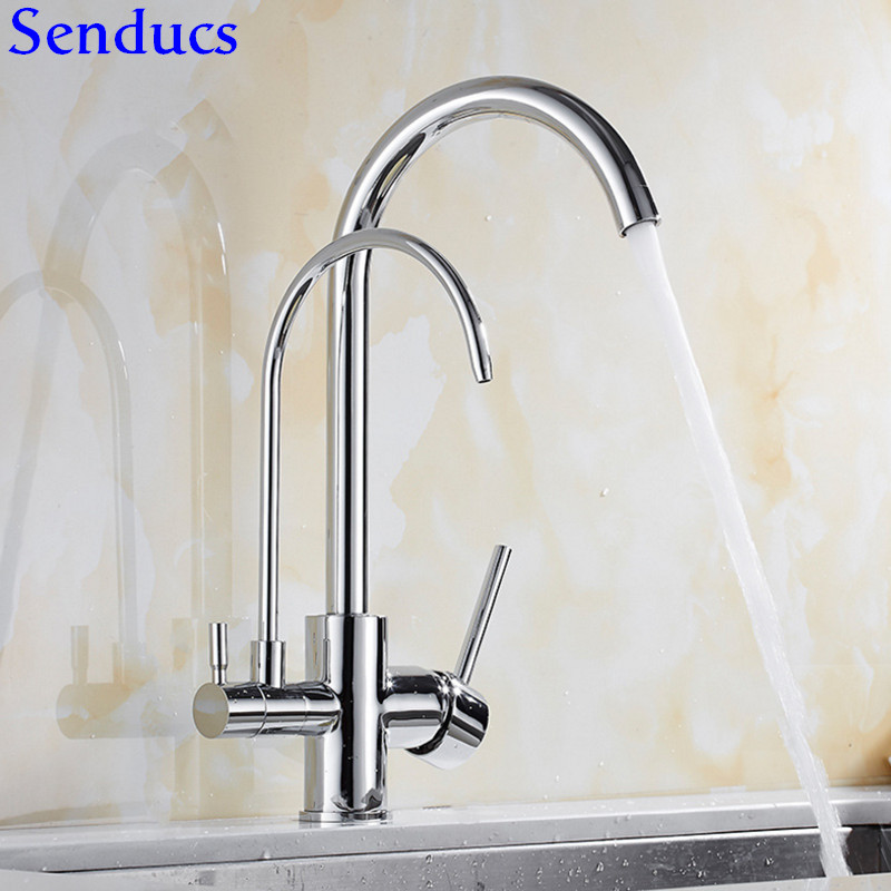 Senducs Filter Kitchen Sink Faucet With Dual Handle Kitchen Sink Mixer Tap Hot Cold Water Taps Chrome Water Purifier Tap senducs kitchen faucet three way kitchen sink mixer tap of quality brass spring kitchen sink faucet hot cold kitchen water tap