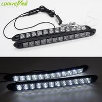 2pc Lot Soft 12V Universal Car Daytime Running Light 12pc LED Car COB DRL Driving Fog