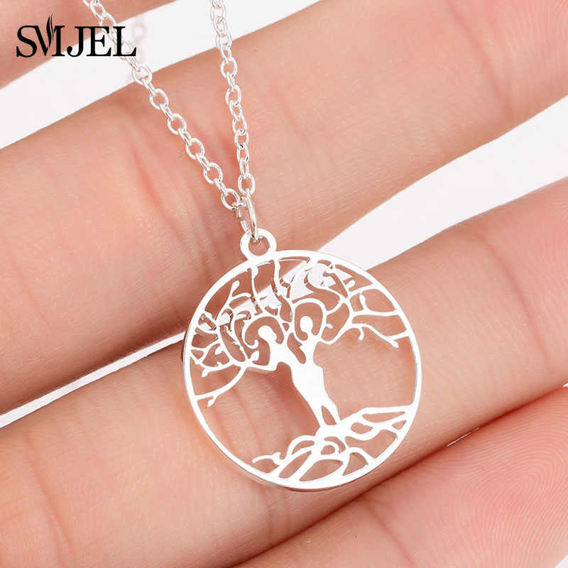 SMJEL Couple Tree of Life Stainless Steel Statement Necklaces Gene Jewelry Collares 2019 Women and Men Charm oorbellen