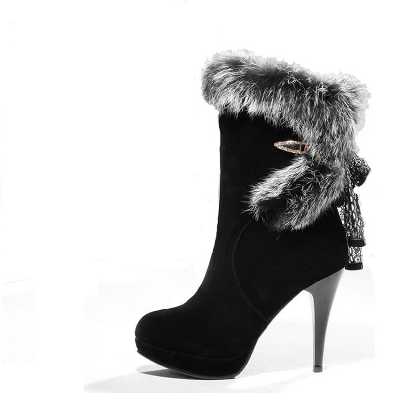 Winter snow boots sexy boots rabbit fur ankle boots high-heeled shoes women's thin heels shoes knee-high warm boots 11cm heels 2013 new winter high platform soled high heeled snow boots female side zipper rabbit fur thick heels snow shoes h1852