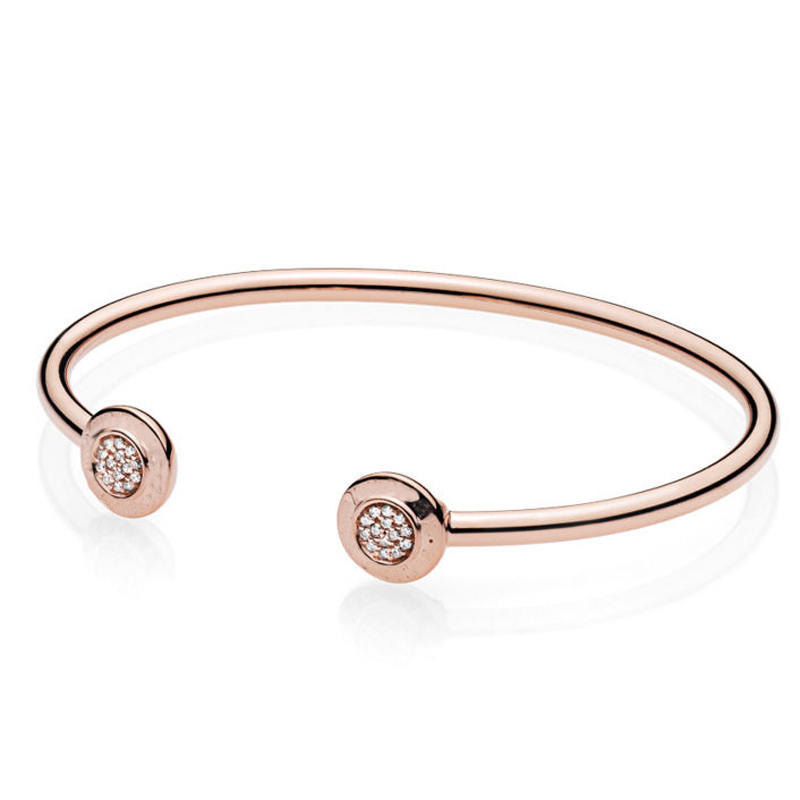 New 925 Sterling Silver Bangle Rose Gold Letter Signature With Crystal Open Bracelet Fit Women Bead Charm DIY Pandora Jewelry 925 sterling silver bracelet rose logo signature padlock smooth snake bracelet bangle fit bead charm diy pandora jewelry