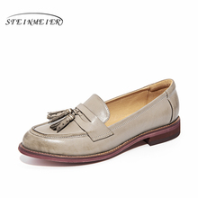 Genuine sheepskin leather brogues designer yinzo lady vintage flats shoes handmade oxford shoes for women grey brown black red