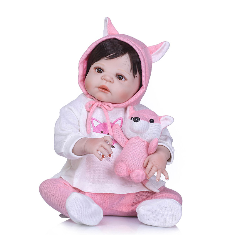 56CM Reborn Doll Toy Full Body Silicone 3D Lifelike Jointed Newborn Doll Gift Playmate BM88 56cm baby reborn doll full body silicone 3d lifelike jointed newborn doll playmate gift bm88