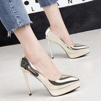 Sexy Stilettos Gold Shoes Women Pumps Platform 2019 Autumn Rhinestone Wedding Shoes 13cm Party Office Footwear