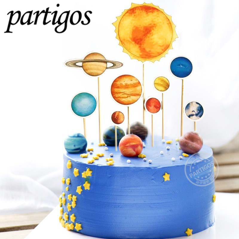 Excellent Outer Space Party Astronaut Rocket Moon Happy Birthday Cake Topper Funny Birthday Cards Online Unhofree Goldxyz