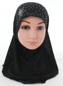 Image 4 - Kid Girls Islamic Muslim Arab Hijab Scarf School Rhinestone Child Headwear Abaya Nace Cover Bonnet Shawl Wrap Headscarf Fashion